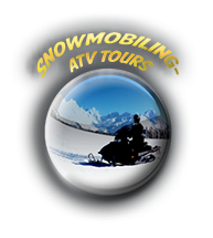 Cabin guests ride a snowmobile on tour.